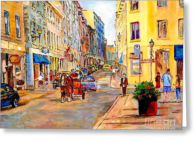 Montreal Restaurants Greeting Cards - Old Montreal Paintings Youville Square Rue De Commune Vieux Port Montreal Street Scene  Greeting Card by Carole Spandau