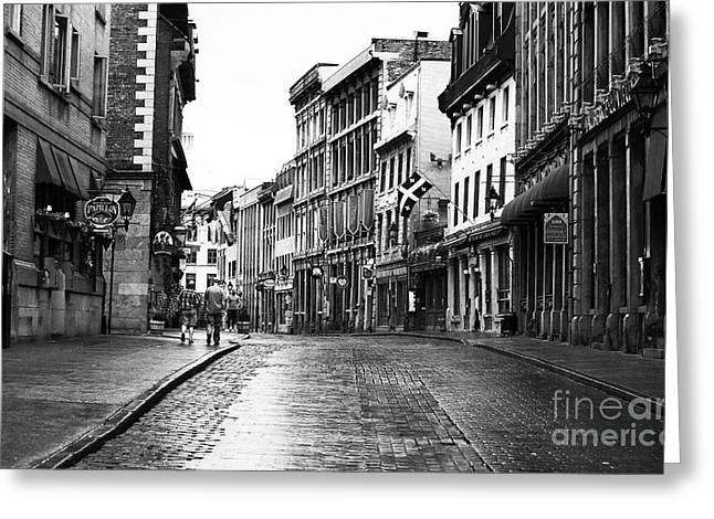 Quebec Province Greeting Cards - Old Montreal Streets Greeting Card by John Rizzuto