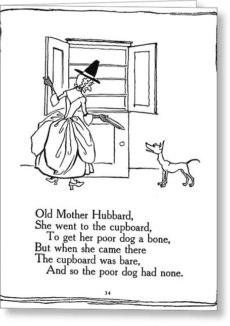 Old Mother Hubbard, 1913 Greeting Card by Granger