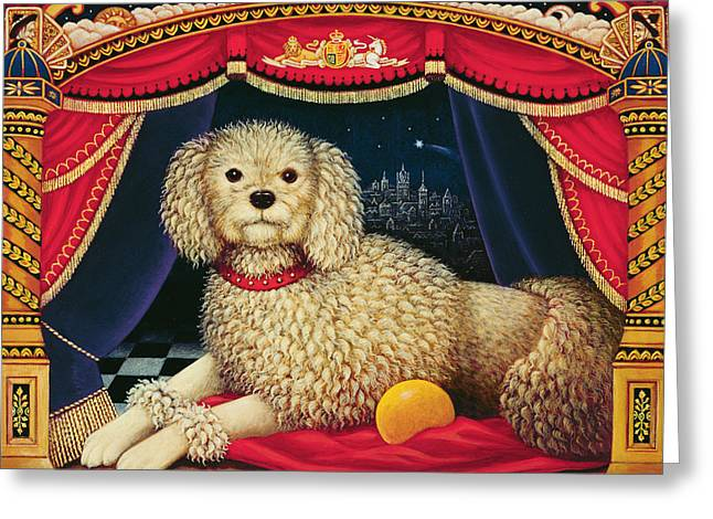 Nursery Rhyme Greeting Cards - Old Mother Hubbards Wonderful Dog, 1998 Oil & Tempera On Panel Greeting Card by Frances Broomfield