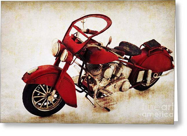 Angela Doelling Ad Design Photo And Photoart Greeting Cards - Old motor-bike Greeting Card by Angela Doelling AD DESIGN Photo and PhotoArt