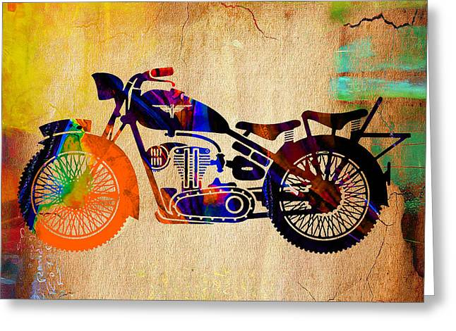 Old Motorcycle Greeting Cards - Old Motorbike Greeting Card by Marvin Blaine