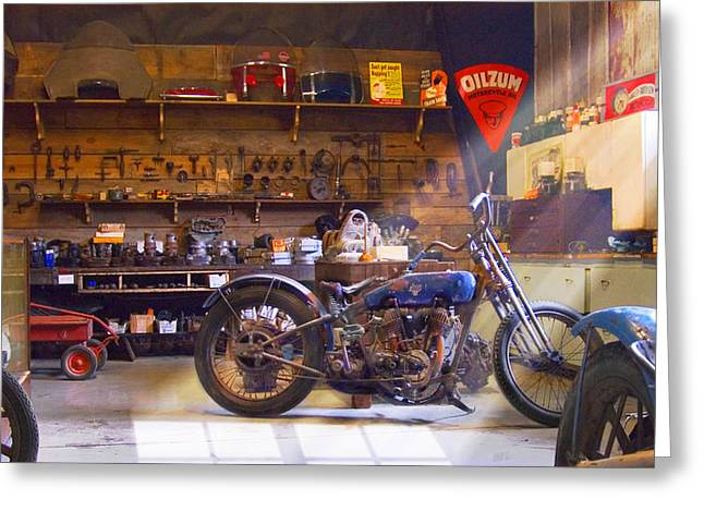 Wagon Digital Art Greeting Cards - Old Motorcycle Shop 2 Greeting Card by Mike McGlothlen
