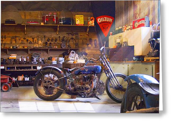 Old Motorcycle Shop 2 Greeting Card by Mike McGlothlen