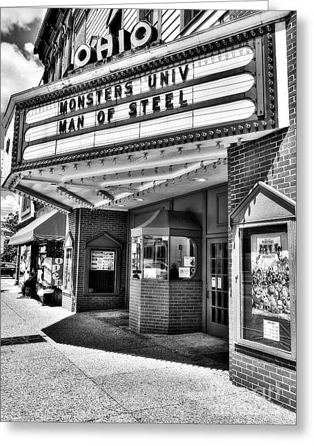 Movie Theater Greeting Cards - Old Movie Theater BW Greeting Card by Mel Steinhauer