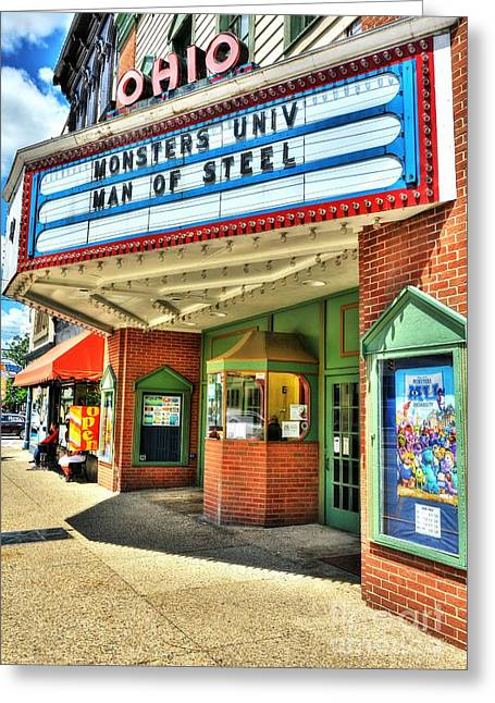 Indiana Scenes Greeting Cards - Old Movie Theater Greeting Card by Mel Steinhauer