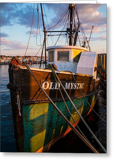 Boats At The Dock Greeting Cards - Old Mystic Greeting Card by Karol  Livote