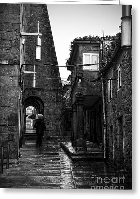 Old Street Greeting Cards - Old narrow street in Pontevedra BW Greeting Card by RicardMN Photography