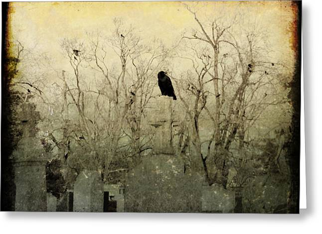 Ravens In Graveyard Greeting Cards - Old Necropolis Greeting Card by Gothicolors Donna Snyder