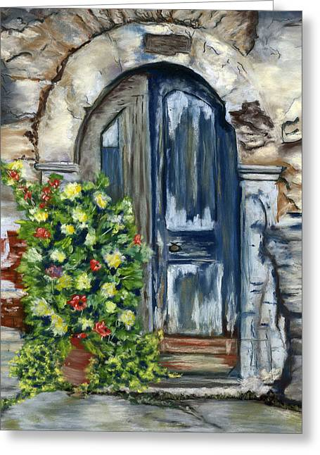 Greek Pastels Greeting Cards - Old Neglected Door and Planter Greeting Card by Sarah Dowson