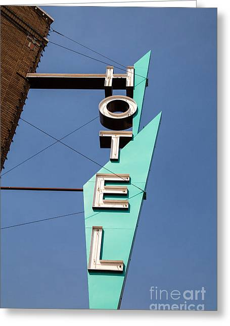 Old Signage Greeting Cards - Old Neon Hotel Sign Greeting Card by Edward Fielding