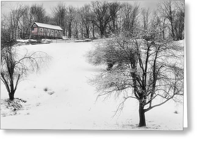Old Barns Greeting Cards - Old New England Barn In Winter Greeting Card by Bill  Wakeley