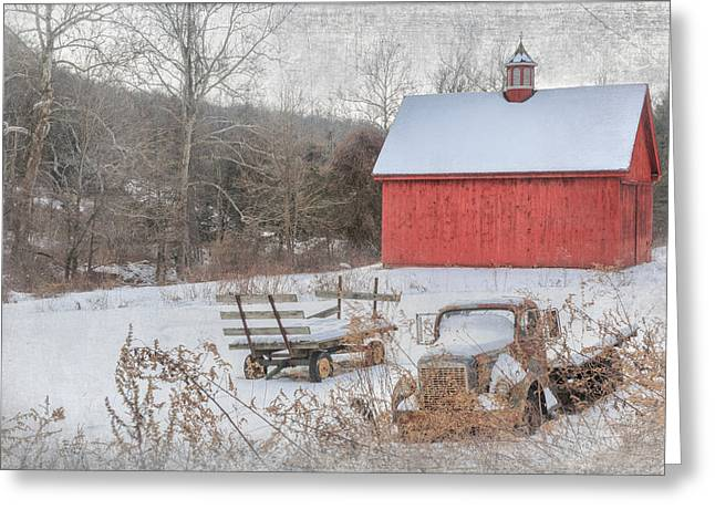 Red Barn In Winter Greeting Cards - Old New England Greeting Card by Bill Wakeley
