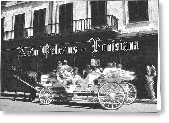 Cajun Drawings Greeting Cards - Old New Orleans Louisiana - Vintage Greeting Card by Peter Fine Art Gallery  - Paintings Photos Digital Art