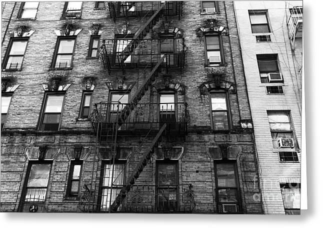 New York City Fire Escapes Greeting Cards - Old New York in Chinatown mono Greeting Card by John Rizzuto