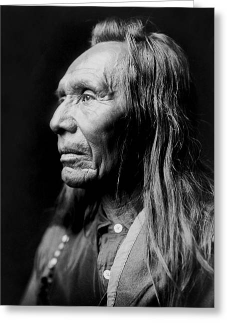 Nez Perce Greeting Cards - Old Nez Perce Man circa 1910 Greeting Card by Aged Pixel