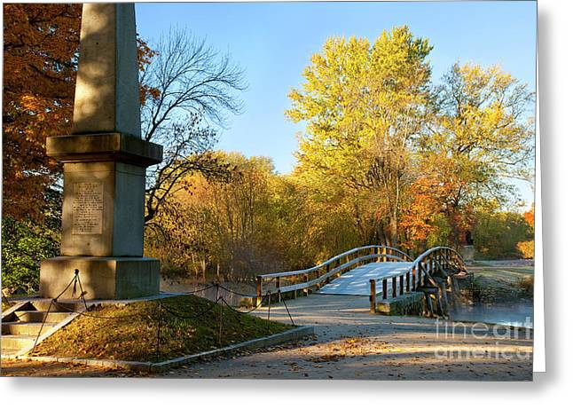 Minuteman Greeting Cards - Old North Bridge Greeting Card by Brian Jannsen