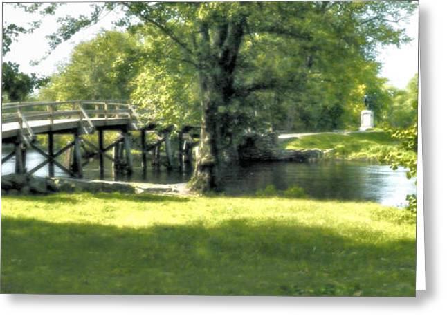 Concord Greeting Cards - Old North Bridge Greeting Card by Nigel Fletcher-Jones