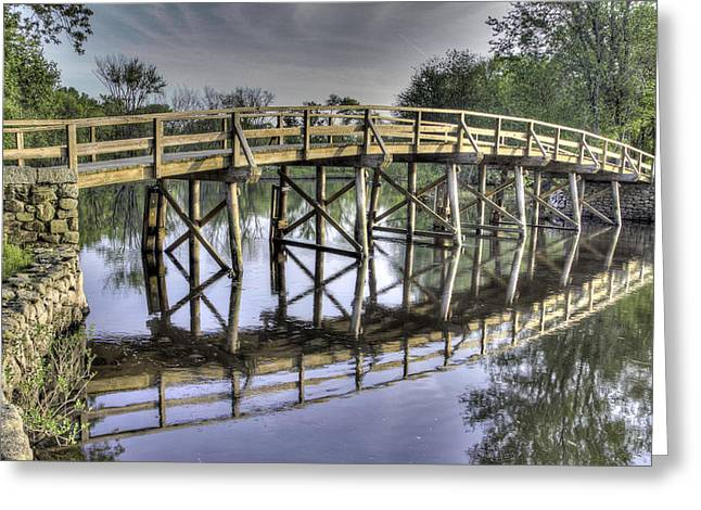 Concord Ma. Greeting Cards - Old North Bridge Greeting Card by Phillip McNeil