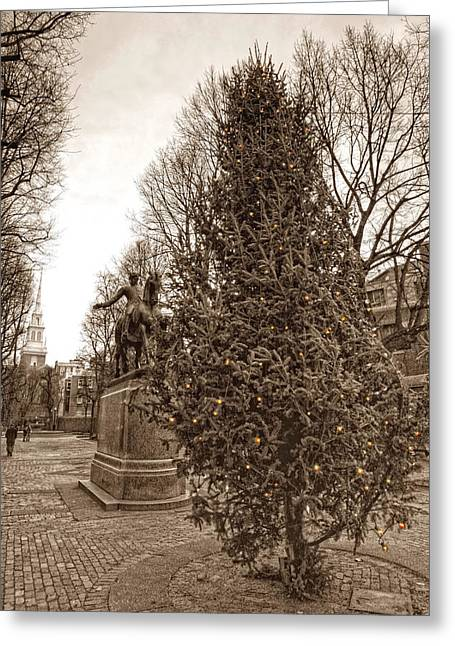 Historic Statue Greeting Cards - Old North Church and Paul Revere Greeting Card by Joann Vitali