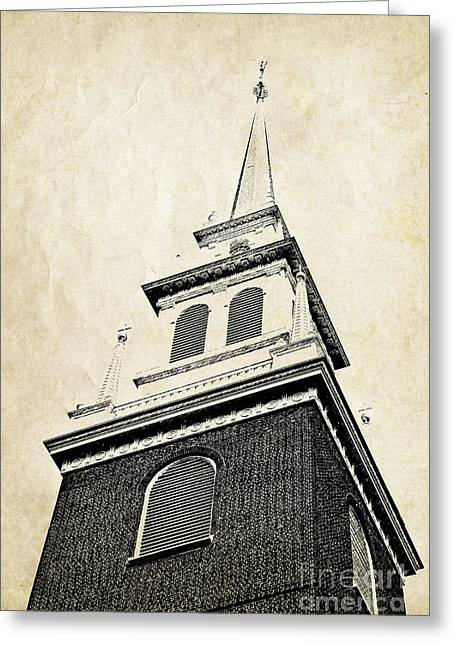 Cards Vintage Greeting Cards - Old North Church in Boston Greeting Card by Elena Elisseeva