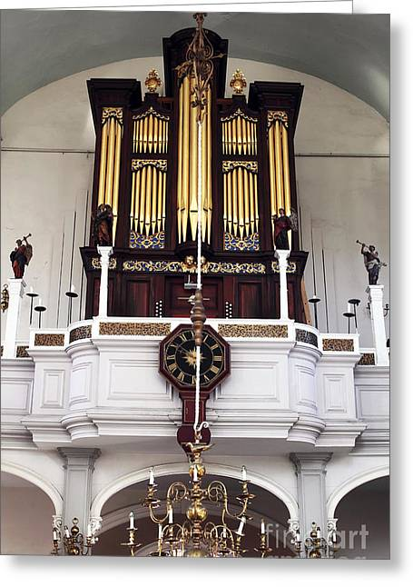 North Italian Town Greeting Cards - Old North Church Organ Greeting Card by John Rizzuto
