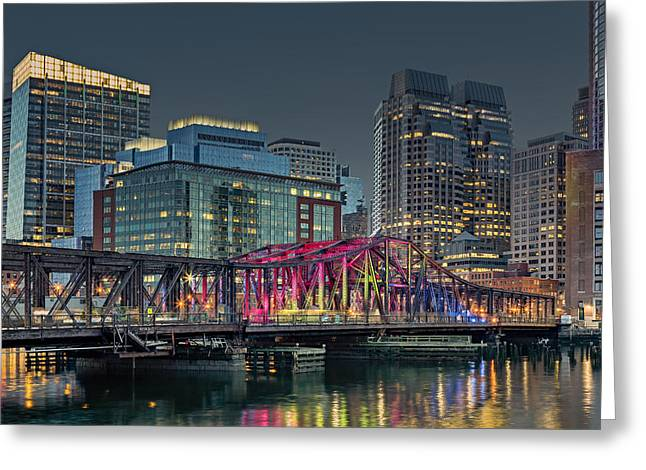 Night-scape Greeting Cards - Old Northern Bridge Boston Harbor Greeting Card by Susan Candelario