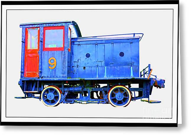 Locomotive Greeting Cards - Old Number 9 - Small Locomotive Greeting Card by Edward Fielding
