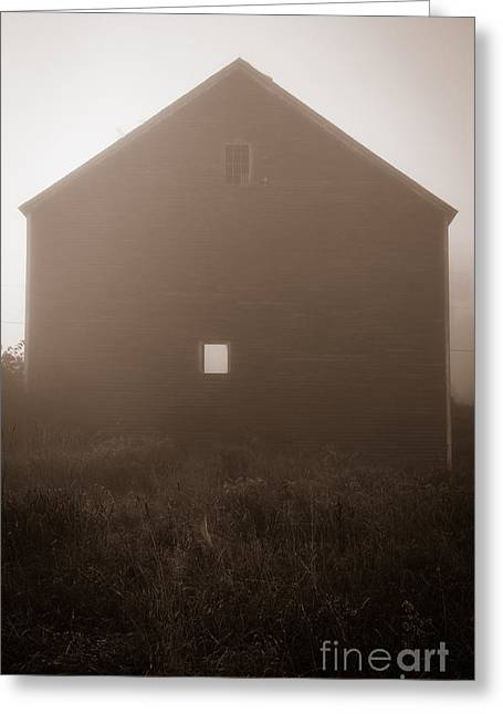 New England Morning Greeting Cards - Old Nutt Barn in the fog Greeting Card by Edward Fielding