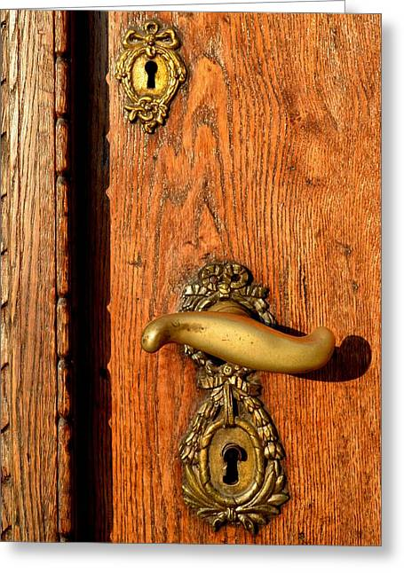 Brass Fittings Greeting Cards - Old Oak Door With Brass Handle and Locks Greeting Card by Ion vincent DAnu