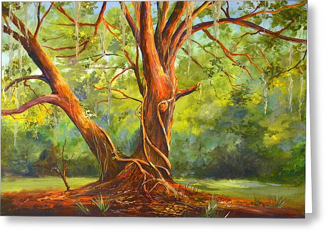 Mound Paintings Greeting Cards - Old Oak with Vines Greeting Card by AnnaJo Vahle