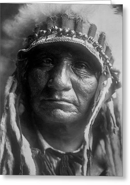 1907 Greeting Cards - Old Oglala Man circa 1907 Greeting Card by Aged Pixel