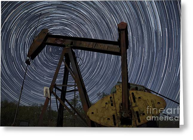 Burning Greeting Cards - Old Oil Pump Deep in the Heart of Texas Greeting Card by Keith Kapple