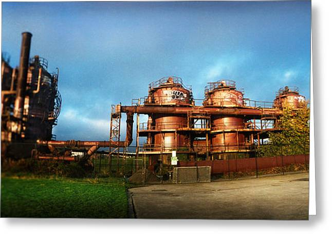 Fossil Fuel Greeting Cards - Old Oil Refinery, Gasworks Park Greeting Card by Panoramic Images