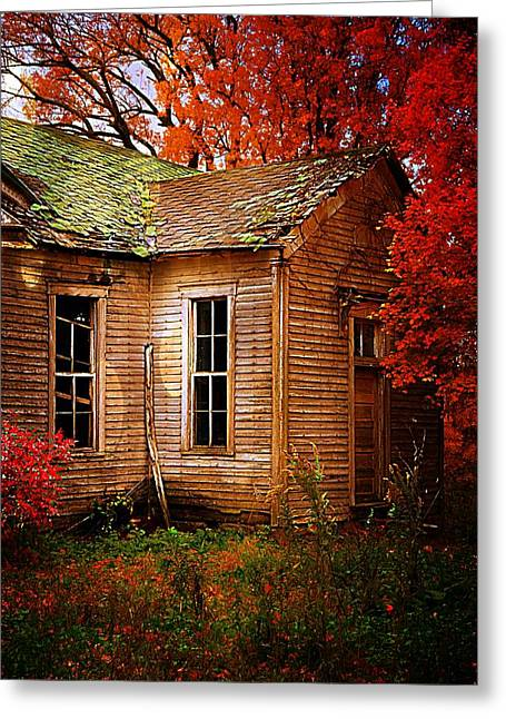 Autumn Scenes Greeting Cards - Old One Room School House in Autumn Greeting Card by Julie Dant