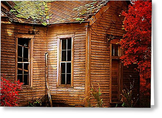 Old One Room School House in Autumn Greeting Card by Julie Dant