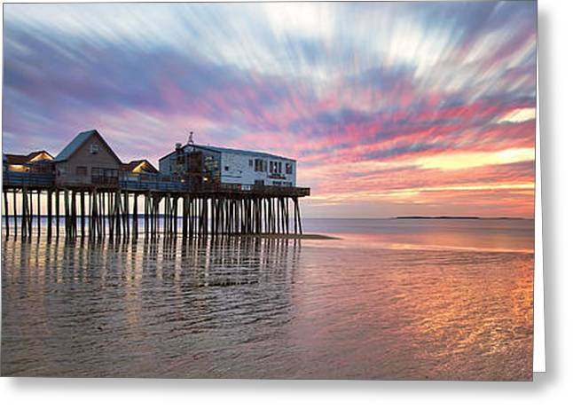 New England Ocean Greeting Cards - Old Orchard Beach Panorama Greeting Card by Eric Gendron
