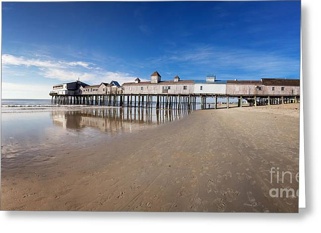 Maine Beach Greeting Cards - Old Orchard Beach panorama Greeting Card by Jane Rix