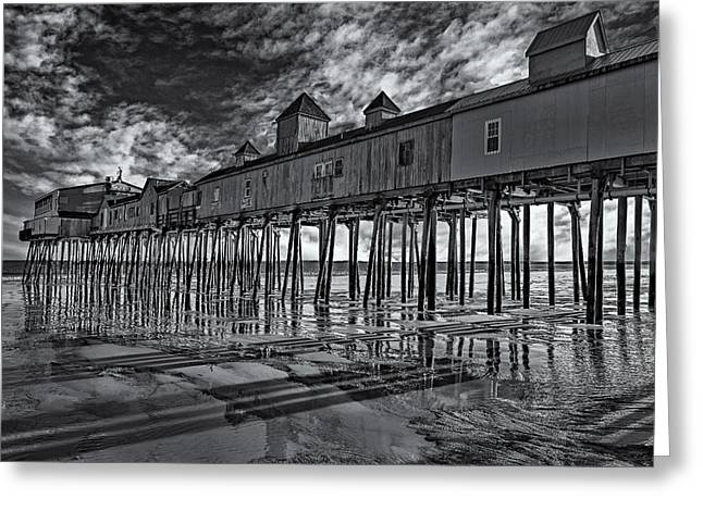 Old Orchard Beach Pier Bw Greeting Card by Susan Candelario