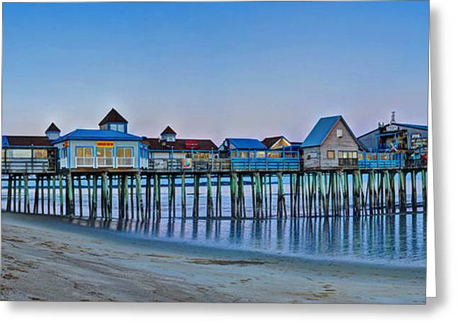 Maine Beach Greeting Cards - Old Orchard Beach Pier Panorama Greeting Card by Murray Dellow