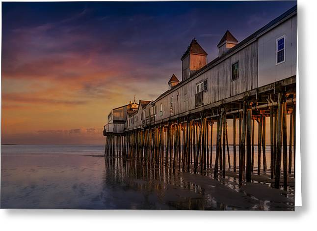 Maine Shore Greeting Cards - Old Orchard Beach Pier Sunset Greeting Card by Susan Candelario