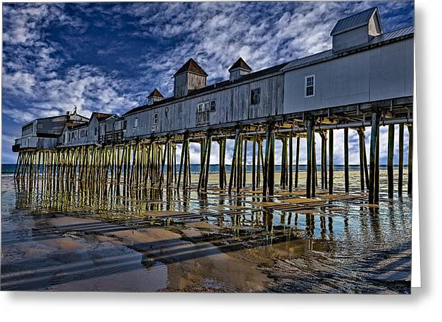 Maine Beach Greeting Cards - Old Orchard Beach Pier Greeting Card by Susan Candelario