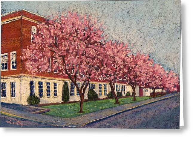 Brick Schools Paintings Greeting Cards - Old Oregon City High School in Spring Greeting Card by Dorothy Jenson