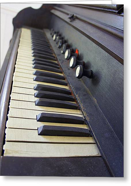 Laurie Perry Greeting Cards - Old Organ Keyboard Greeting Card by Laurie Perry