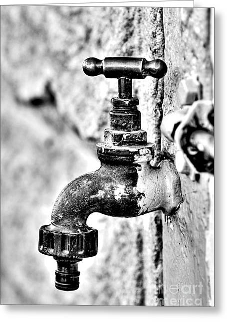 Tap Greeting Cards - Old Outdoor Tap - Black and White Greeting Card by Kaye Menner
