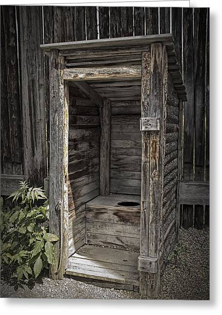 Latrine Greeting Cards - Old Outhouse in the Fort at Fort Edmonton Greeting Card by Randall Nyhof