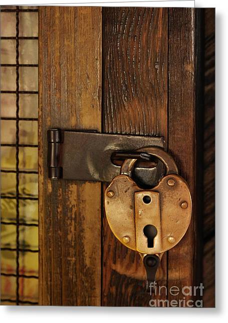 Old Doors Greeting Cards - Old Padlock Greeting Card by Carlos Caetano