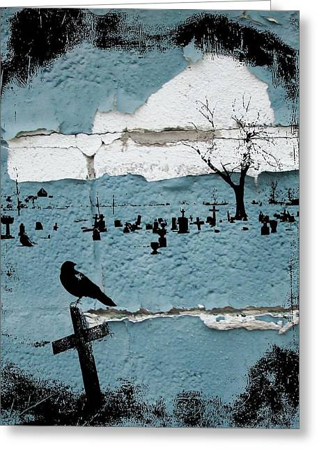 Crow Collage Greeting Cards - Old Paint Greeting Card by Gothicolors Donna Snyder