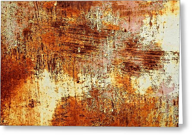 Old Paint On Metal Sheet Greeting Card by Jozef Jankola
