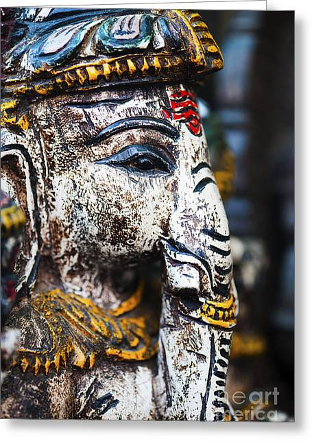 Ornamental Greeting Cards - Old Painted wooden Ganesha Greeting Card by Tim Gainey